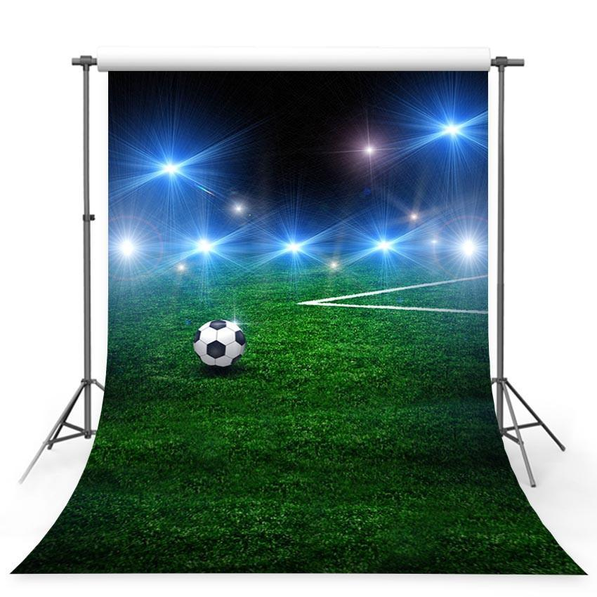 Grassland Sports Backdrop Night Football Field Photography Background