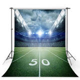 Football Field Backdrop Bright Lights Grassland Night Stadium Photography Background
