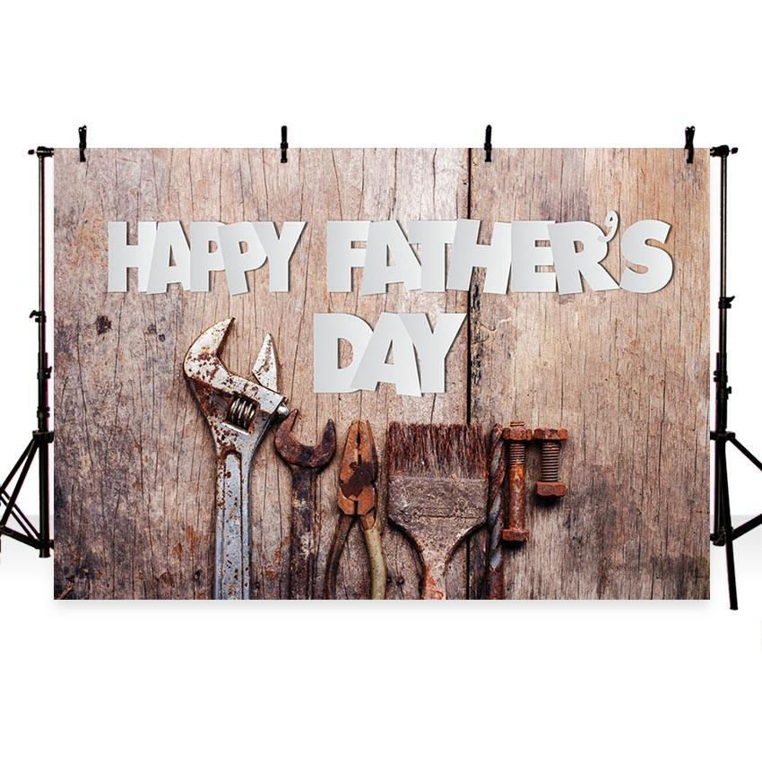 Happy Father' Day Backdrop Antique Wood Wall Photography Background