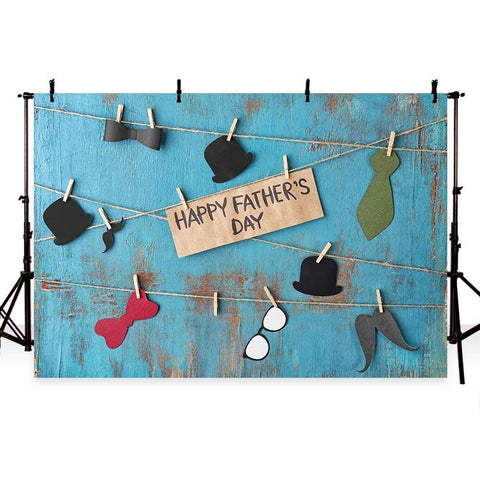 Happy Father' Day Backdrop Blue Wood Wall Photography Background