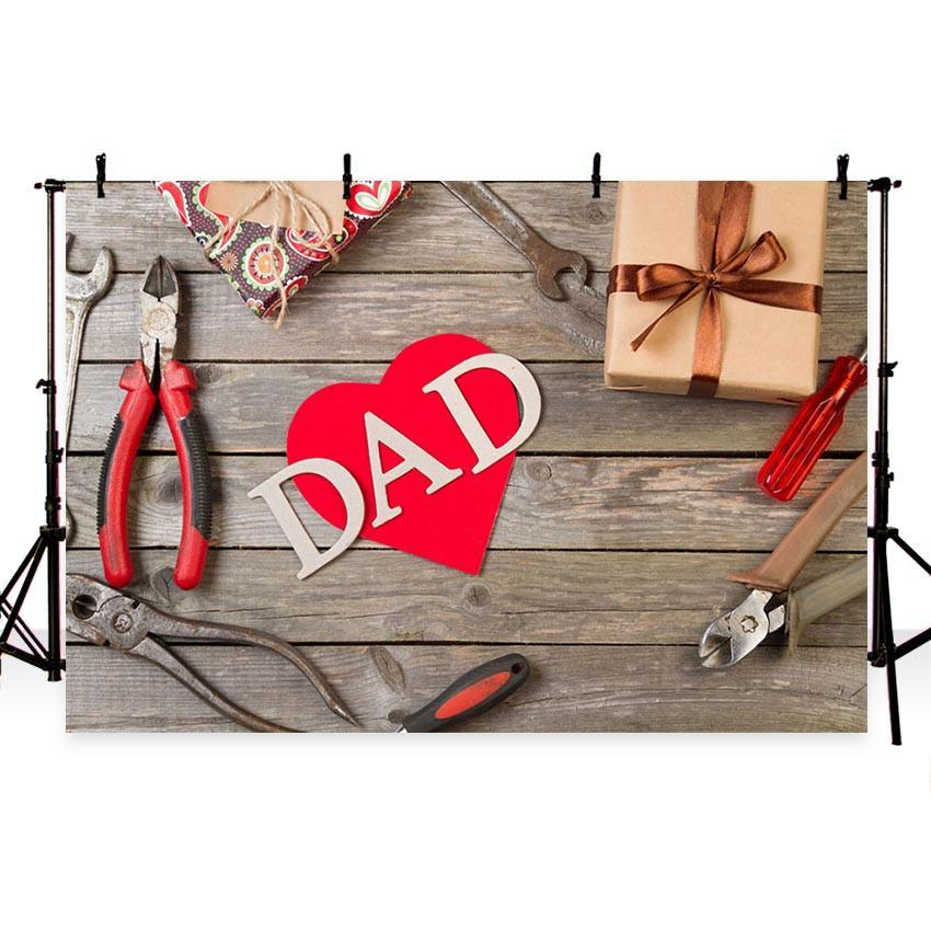 Happy Father' Day Backdrop Red Heart Brown Wood Floor Photography Background