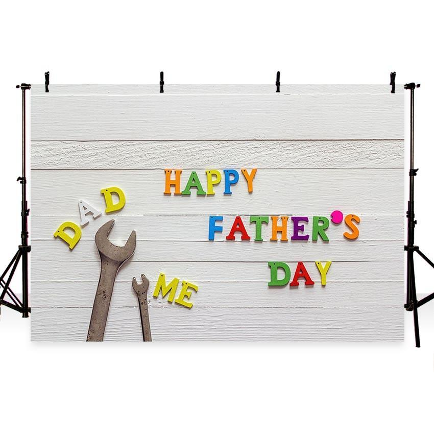 Happy Father's Day Backdrop White Wood Floor Photography Background