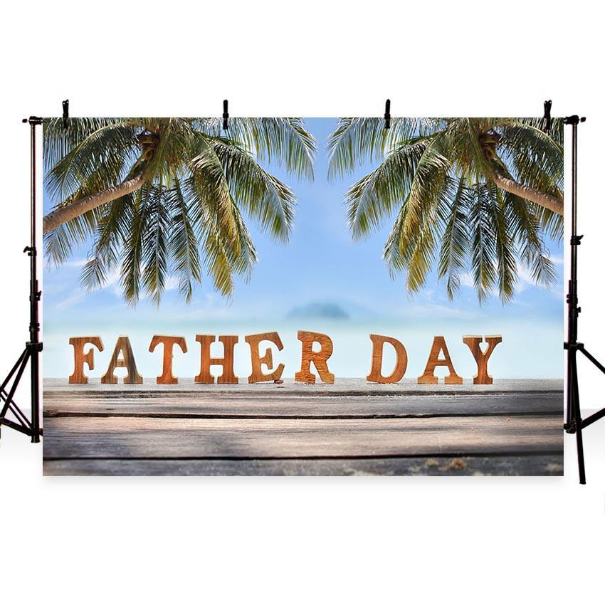 Happy Father's Day Backdrop Coconut Tree Seaside Photography Background