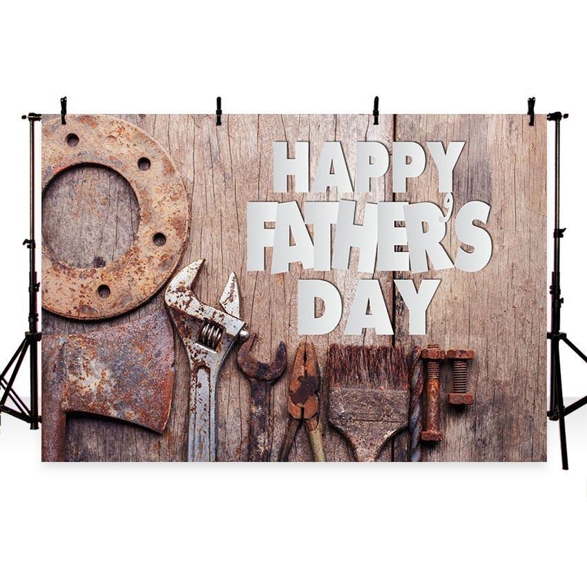 Wood Backdrop White Happy Father's Day Photography Background