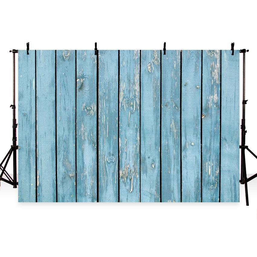 Cyan Peeling Wood Floor Backdrop For Party Photography Background