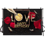 Beautiful Red Petals Golden Love Pattern Backdrop for Birthday Party Background