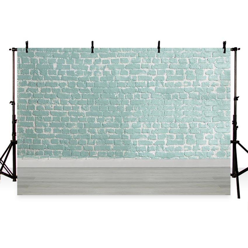 Cyan Brick Wall Wooden Floor Backdrop Photography Backgrounds