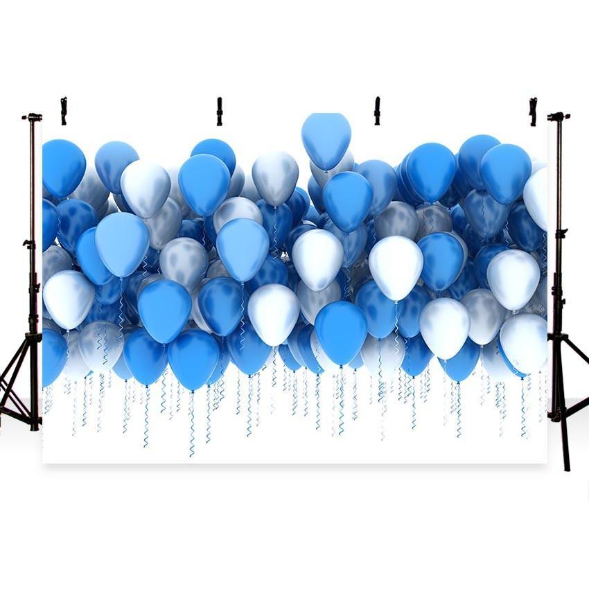 Blue and White Balloons Photography Backdrop For Party Decorations Background