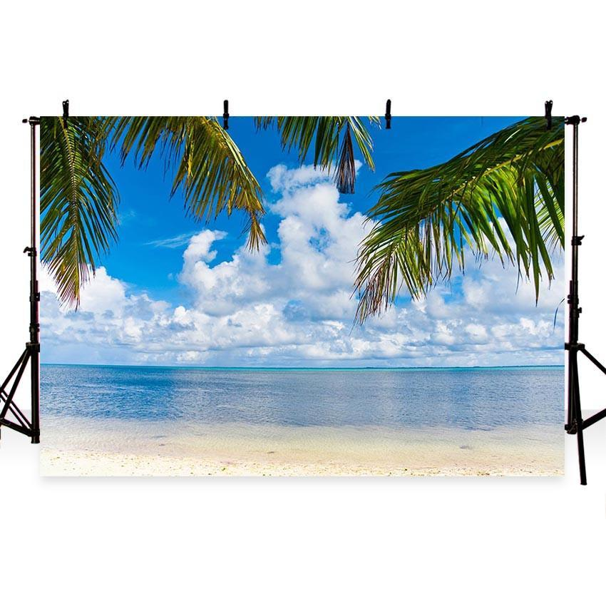 Sea and Beach Blue Sky Landscape Backdrop for Summer Sea Theme Background