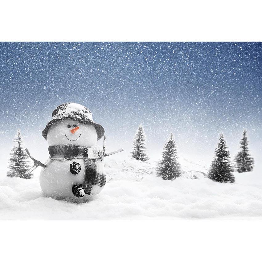 Winter Snowman Christmas Snow Glitter Pine Tree Backdrops for Photography