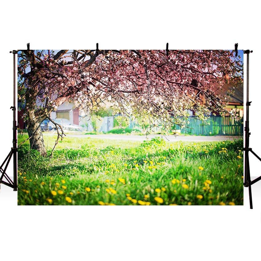Pink Blooming Flowers Green Grass Floor Backdrops for Beautiful Spring Photography
