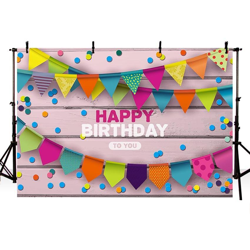 Colorful Flags Pink Wood Wall Backdrops for Birthday Party Photography