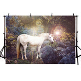 Beautiful Secret Forest White Unicorn Backdrops for Photography Background