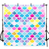 Colorful Mermaid Scales Glare Backdrop for Girl Show Photograph Background