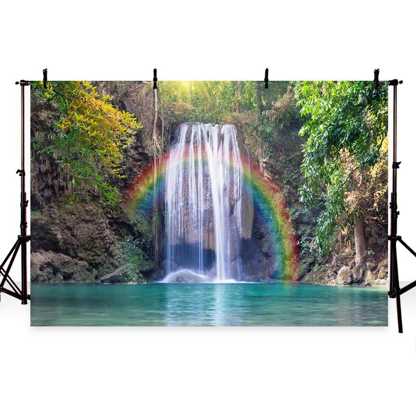 Beautiful Rainbow Landscape Backdrop for Summer Sea Theme Photography