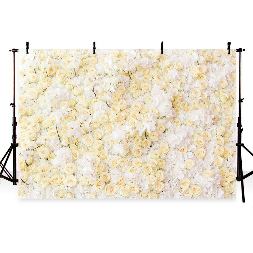 White Yellow Flower Wall Backdrop for Weeding Party Photography