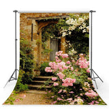Pink Flowers Beside Old Stone Door Backdrop Spring View Photography Background