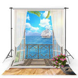 White Curtain Door Backdrop Sea View Photography Background