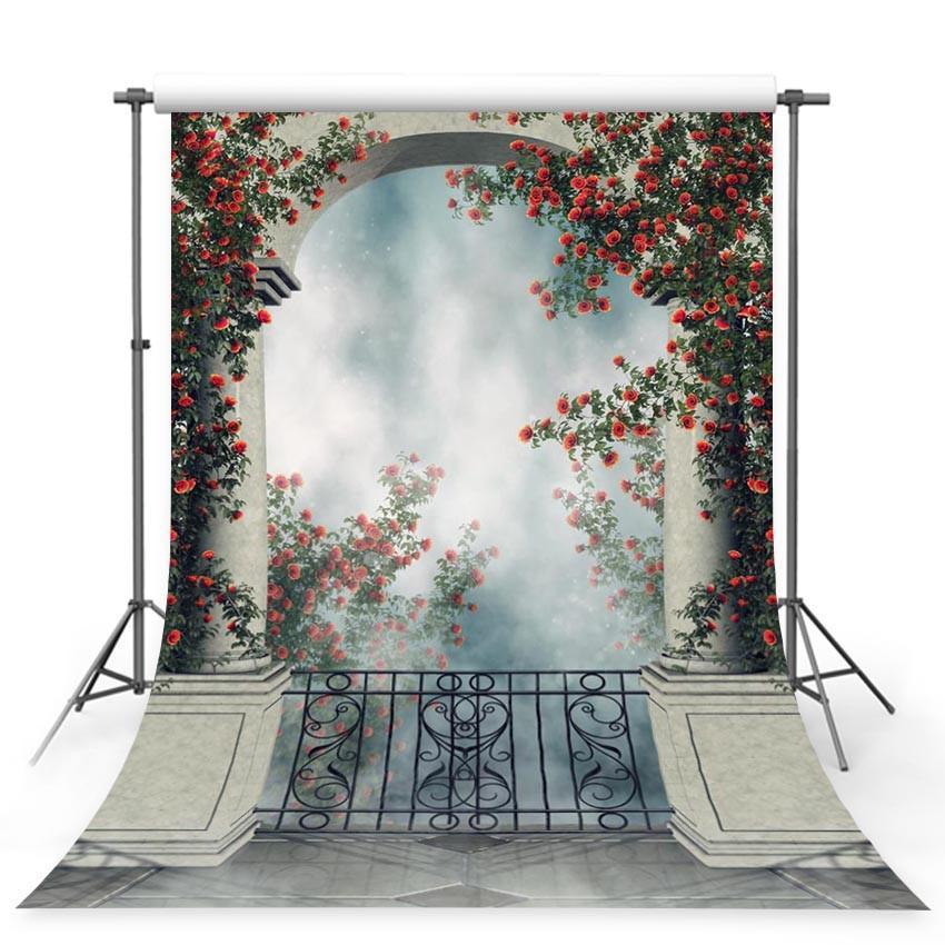 Stone Door With Red Flowers Backdrop Wonderland Photography Background