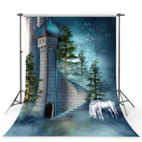 Unicorn Mysterious Castle Backdrop for Studio Photography Background