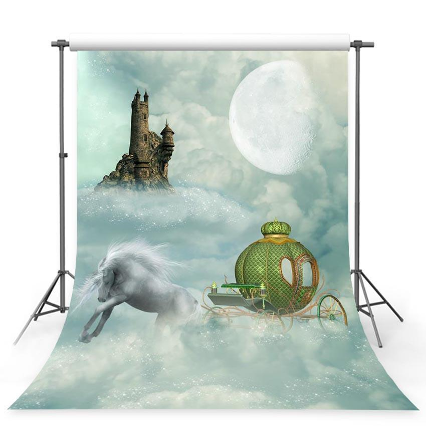 White Unicorn Green Pumpkin Backdrop Clouds Moon Castle Background