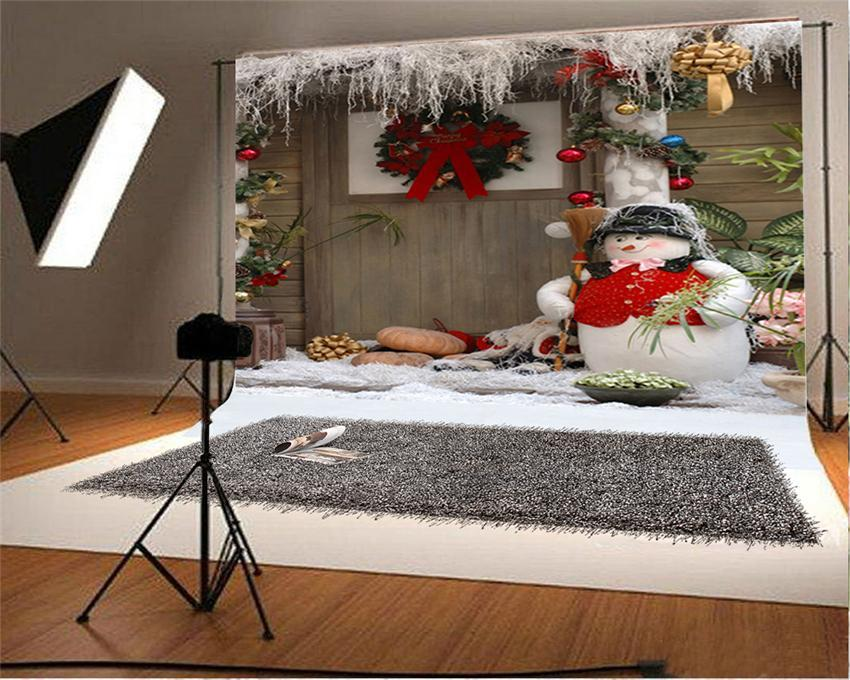 Snow Christmas Backdrop Snowman Photo Background