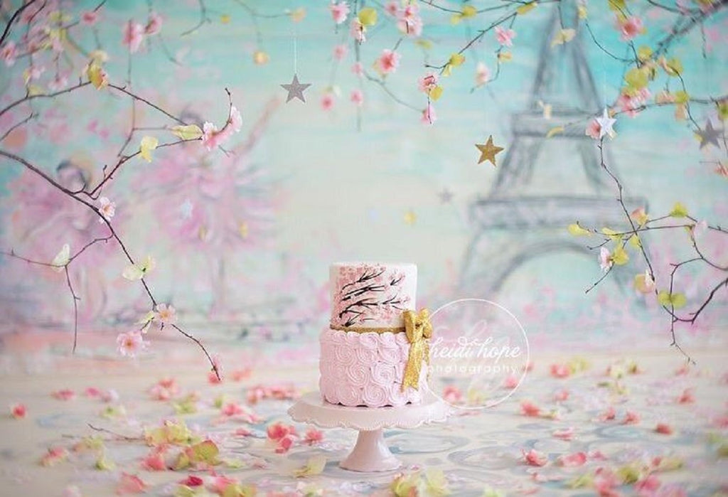 Pink Floral Paris Birthday Backdrops  for Photo Booth Props