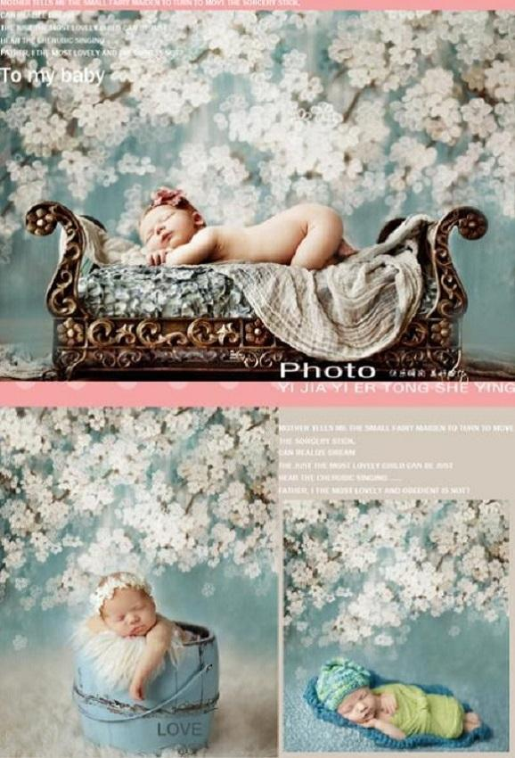 White Flowers Mint Backdrop for Newborn/Bridal/Studio