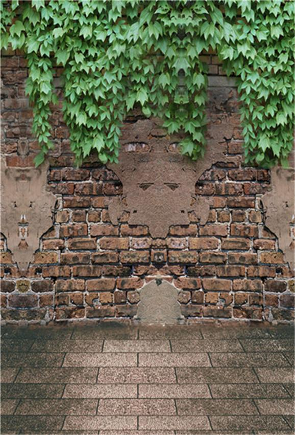 Vintage Brick Wall Stone Floor Leaves Photo Booth Prop Backdrop