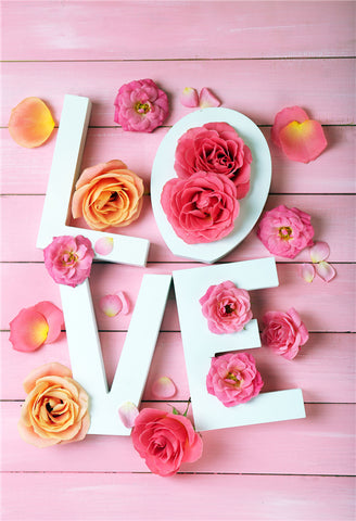 Valentine's Day Pink Rose Wooden Backdrop for Picture