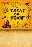 Yellow Treat or Trick Wood Floor Halloween Backdrops