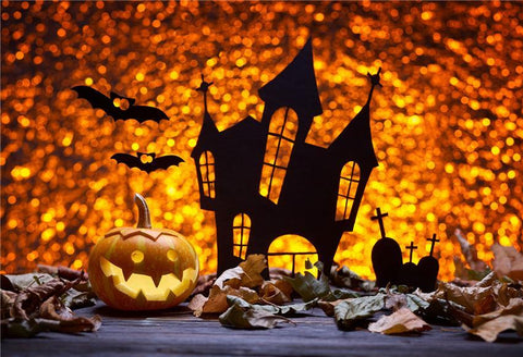 Golden Shiny Castle Halloween Backdrop