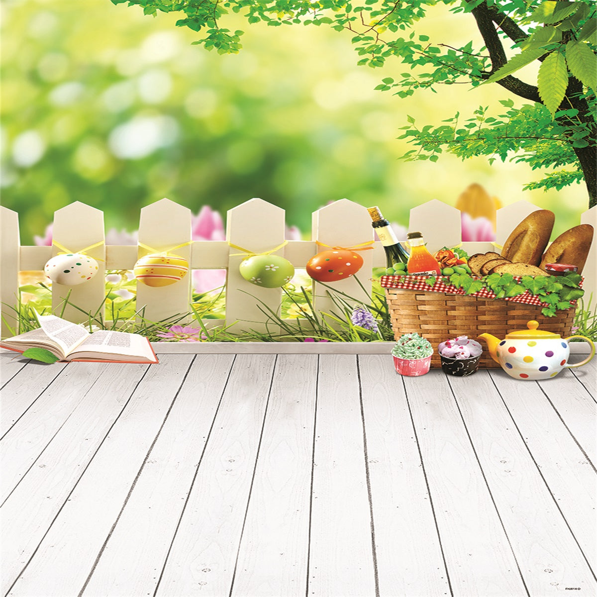 Spring Bokeh Wood Floor Fence Happy Easter Backdrops