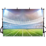 Green Grassland Bright Lights Backdrop Soccer Field Photography Background