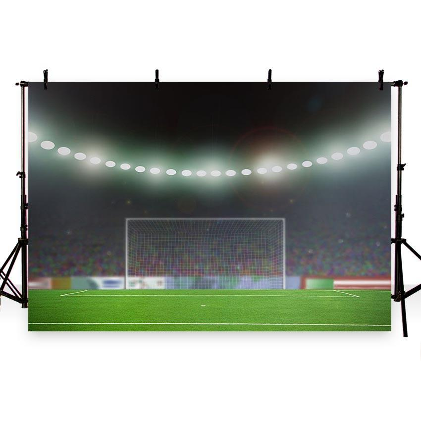 Green Grassland Bright Lights  Background Soccer Field Photography Backdrop