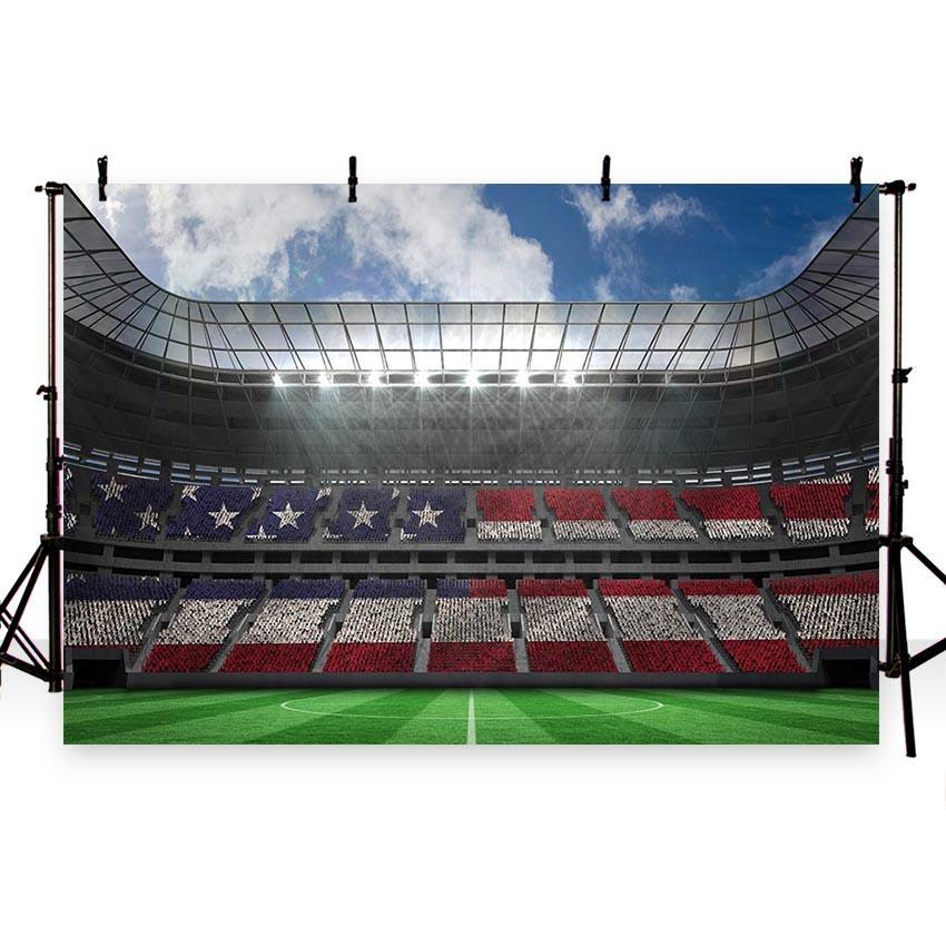 Green Grassland America Flag Crowd Backdrop Soccer Field Photography Background