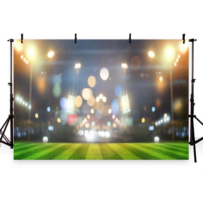 Bokeh Stadium Backdrop Night Football Field Photography Background