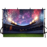Stadium With Fireworks Backdrop Football Field Photography Background