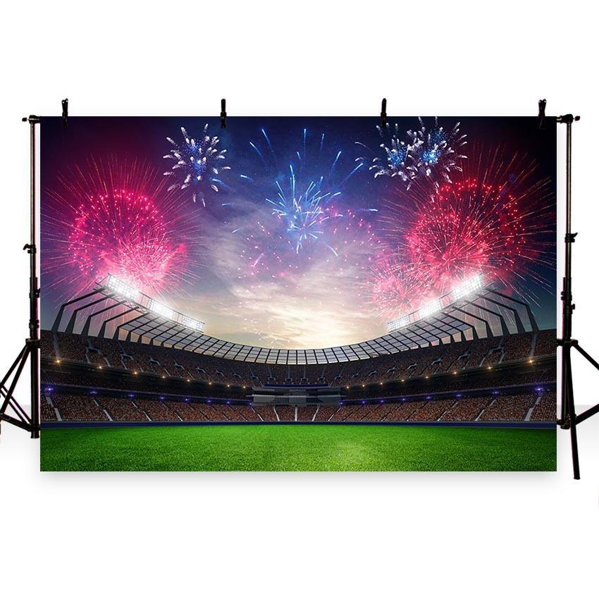 Stadium With Fireworks Backdrop Football Field Background