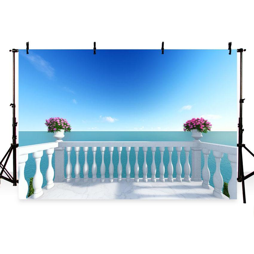 Seaside Beautiful Scenery Backdrop for Weeding Vocation Photography Background