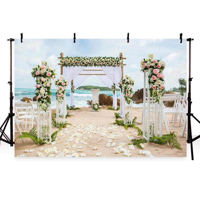 Seaside Beautiful Scenery Backdrop for Weeding Photography Background