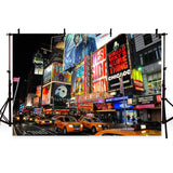 Bustling City Night Scenery Backdrop for Famous Big City Photography Background