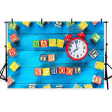 Blue Wood Floor Backdrop Back to School Theme  Photography Background