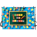 Blue Wood Floor Backdrop Back to School Theme Background for Photography