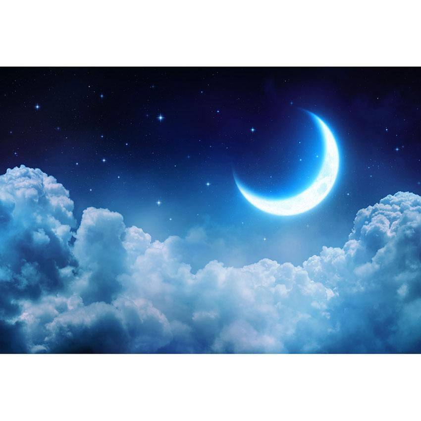 Bright Moon Clouds Backdrop Blue Starry Photograph Background