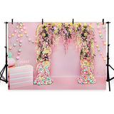 Pink Flower Decoration Photography Backdrops Weeding Party Background