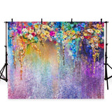 Showy Colorful Flowers Backdrop Watercolor Wall Photography Background