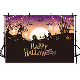 Night Bright Moon Backdrop Halloween Party Photography Background
