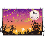 Dark Castle And Bats In Chrome Yellow Sky For Halloween Photography Backdrop