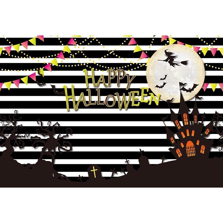 Dark Castle Bright Moon Backdrop White Black Strips Photography Background